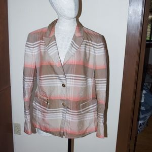 Basler Tan Peach Striped Blazer Jacket 14